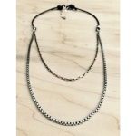 Black leather and sterling silver box chains (16 inch inner, 19 inch outer). $75