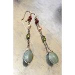 Ruby, pearl, labradorite, peridot, peruvian opal earrings. 2.25 inch drop. All antiqued sterling silver. $52