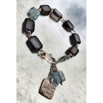 'I am not afraid. I was born to do this.' Agate, blue kyanit and labradorite bracelet. $145