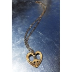 Bronze 'It Starts Within' peace heart with silver wrapped center on  antiqued sterling silver link chain, 19 inches. $105.